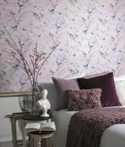Papier peint Helika Mat Papillons Oiseaux Branches avec feuilles et fleurs Blanc violet Jaune pâle Bleu Brun Vert Pourpre rouge