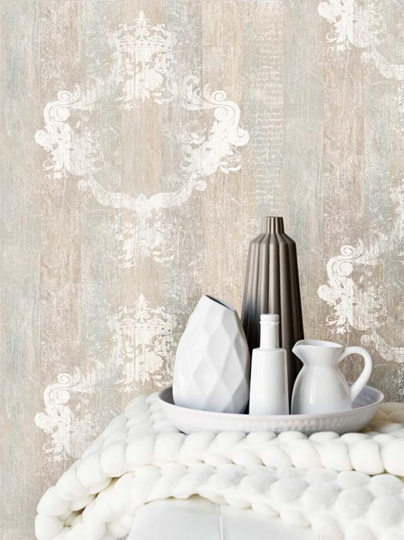 Vintage beige parduzco gris blanco papel pintado barroco patrones de papel pintado Papel pintado anos 70