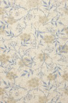 Wallpaper Marlene Hand printed look Matt Leaves Blossoms Light grey beige Cream Olive yellow Pastel blue