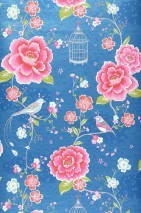 Wallpaper Amina Matt Flowers Birds Bird cages Blue Strawberry red Yellow green Rose White