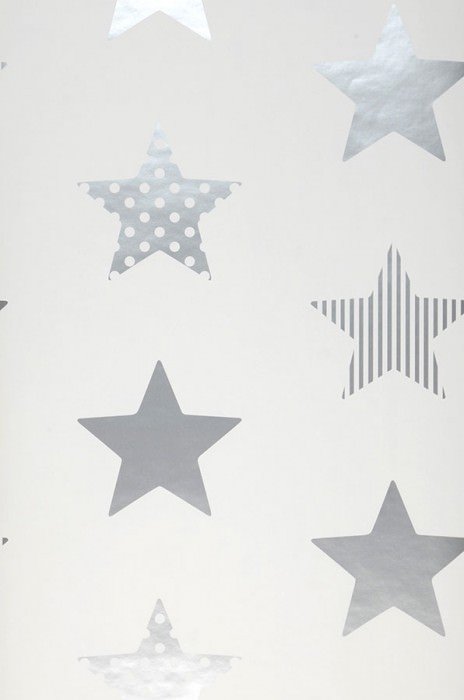 Wallpaper Adenike Shimmering pattern Matt base surface Stars White Silver