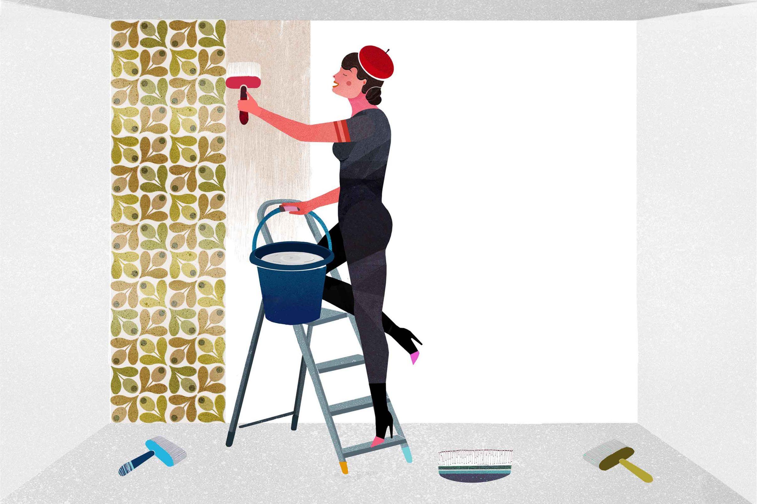 Wie-tapeziere-ich-Vliestapeten-Wand-einkleistern