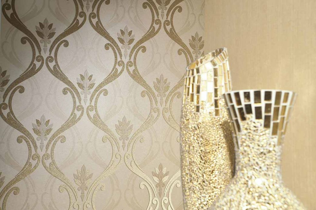 Archiv Wallpaper Harmonia gold lustre Room View