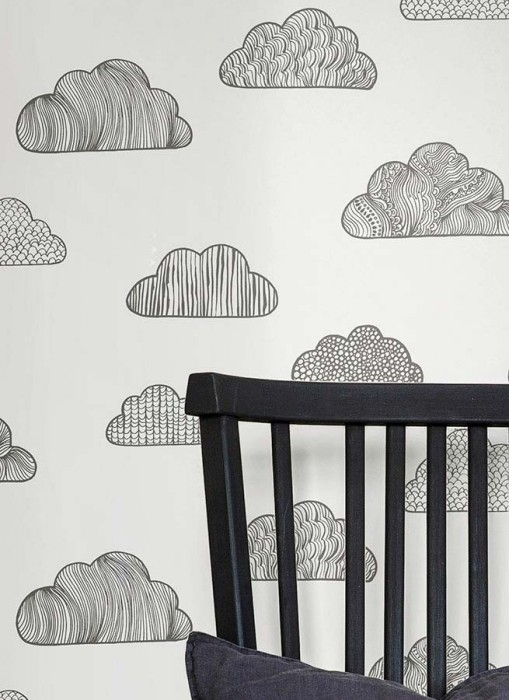 Wallpaper Kadell Matt Clouds White Black grey