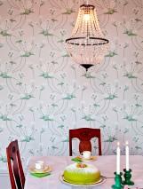 Papier peint Desiree Aspect impression à la main Mat Vrilles de fleur Art nouveau Blanc gris Jaune clair Vert jonc