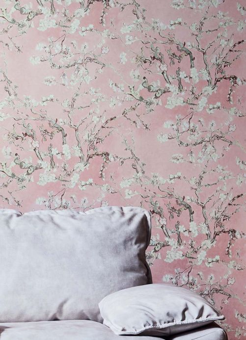Floral Wallpaper Wallpaper VanGogh Blossom pale rosewood Room View