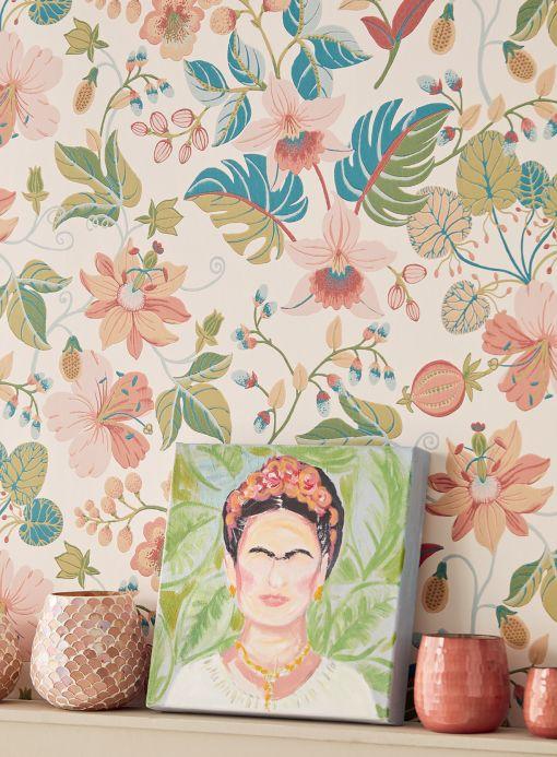 Papier peint floral Papier peint Frederika rosé clair Vue pièce