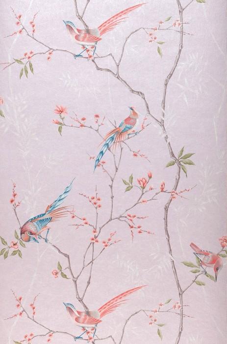 Papel de parede Comtesse Brilhante Pássaros Ramos com folhas e flores Rosa pálido Verde samambaia Marrom acinzentado Carmesim Azul oceano Branco
