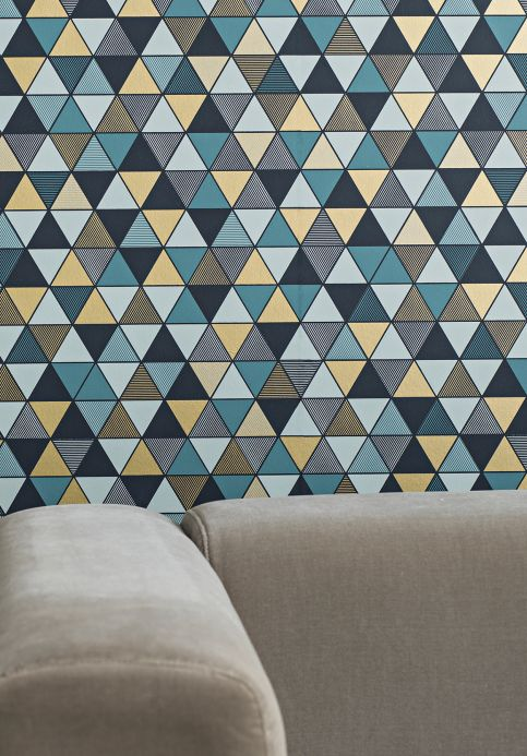 Papel pintado geométrico Papel pintado Saki gris menta Ver habitación