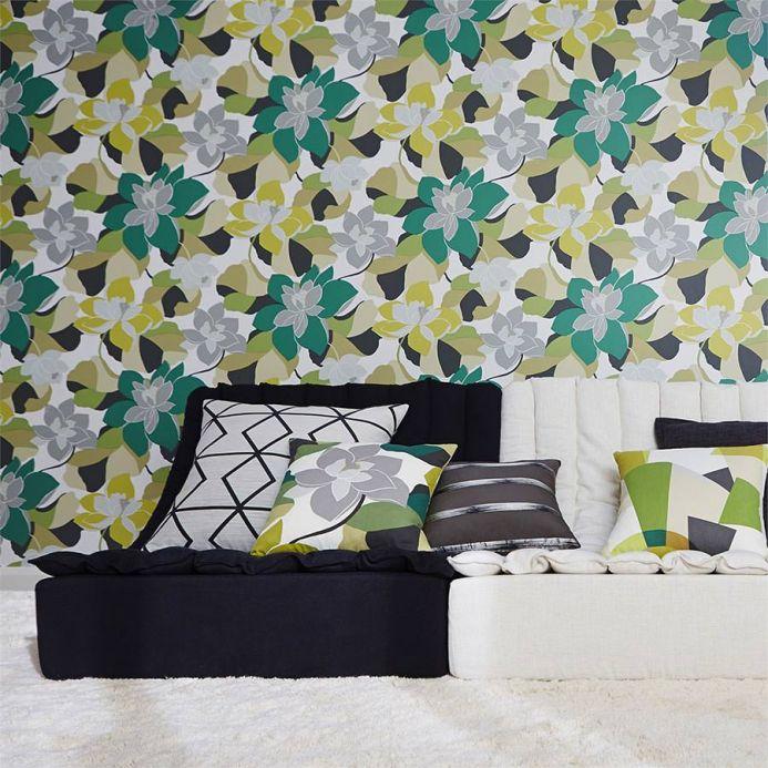 Archiv Papier peint Adarna vert turquoise Vue pièce