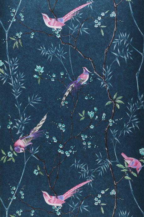 Papier peint rose Papier peint Comtesse bleu océan Largeur de lé