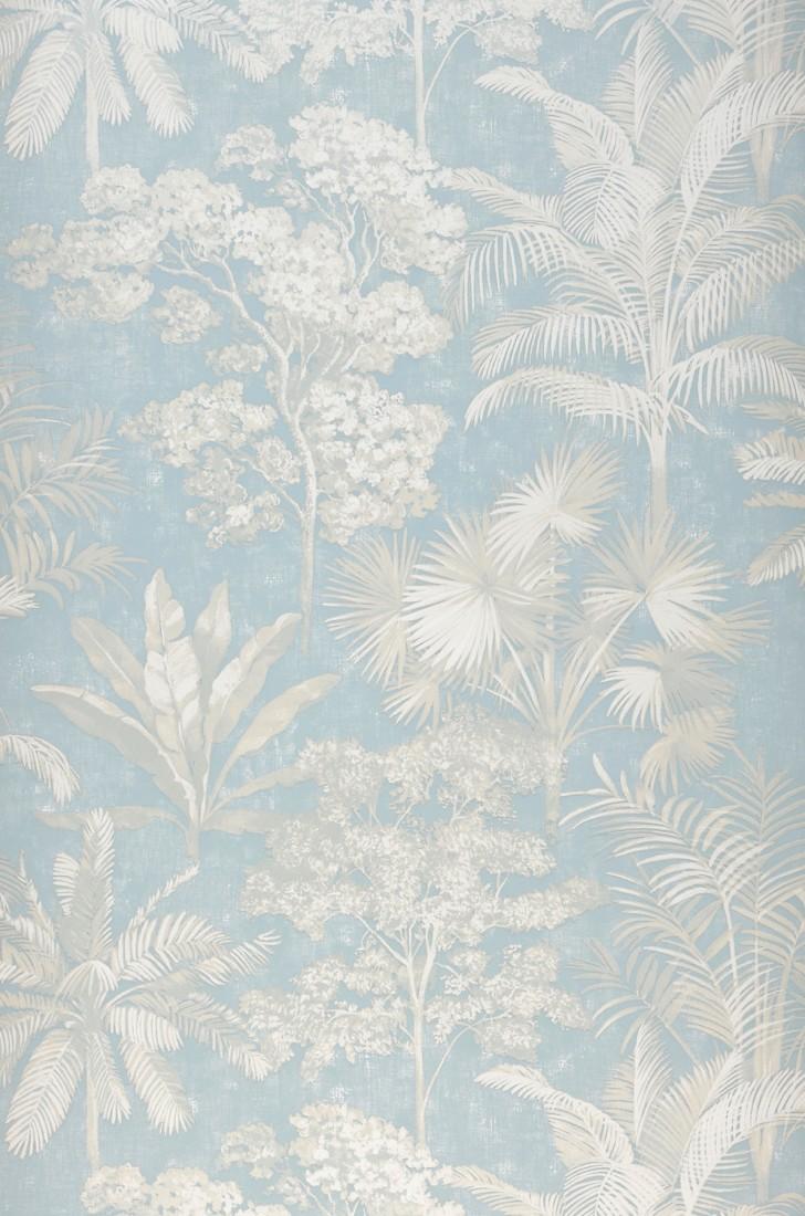Wallpaper Alenia Light Blue Cream White Wallpaper From The 70s