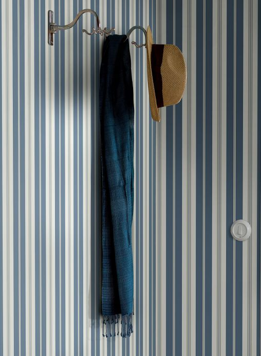 Striped Wallpaper Wallpaper Aminta light grey blue Room View