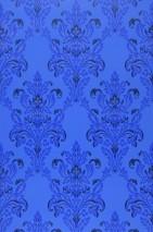 Wallpaper Georgina Hand printed look Matt Floral damask Blue Light yellow Black blue Ultramarine