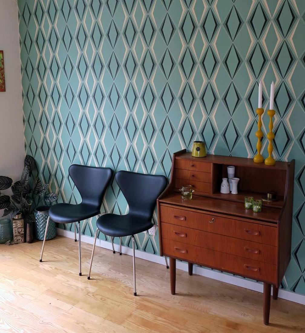 Juno vert p le blanc cr me noir papier peint for Carta parati anni 70 vendita