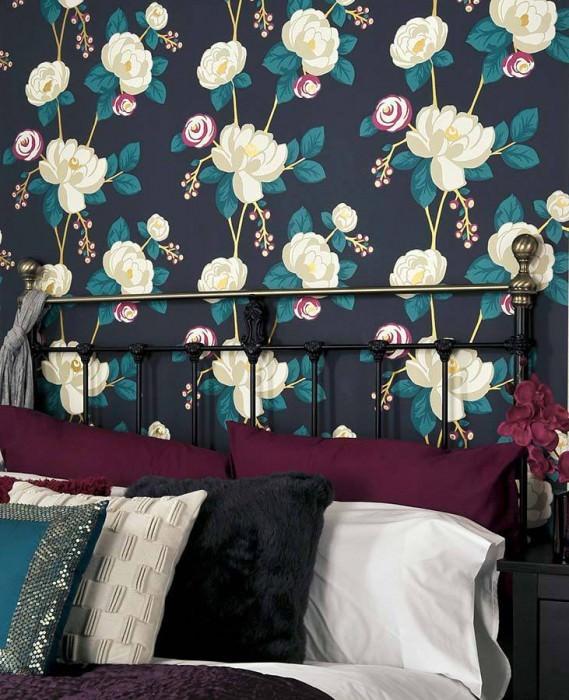Wallpaper Divine Matt Flowers Dark blue Gold Light claret violet Turquoise White