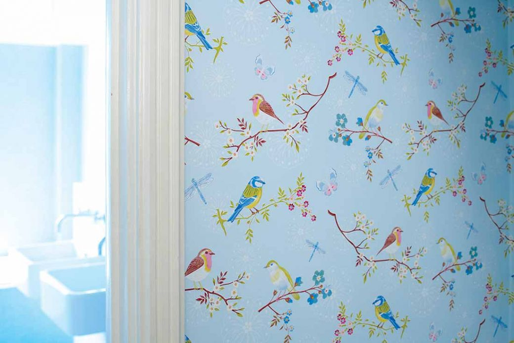 Bedroom Wallpaper Wallpaper Audrey pastel light blue Room View