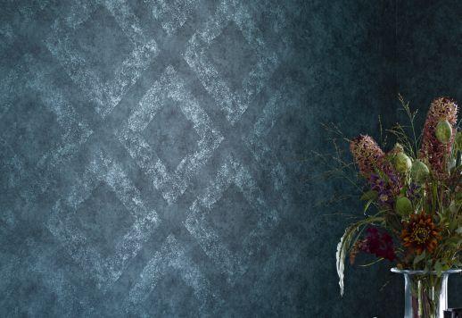 Papier peint Aurim bleu gris Vue pièce