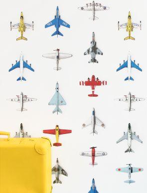 Papel pintado Airplanes 01 blanco Ver habitación