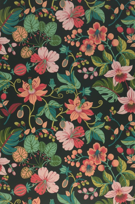 Wallpaper Frederika Hand printed look Matt Leaves Blossoms Black green Beige red Strawberry red Green beige Shades of green Pale pink