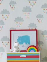 Wallpaper Before a Rainbow Matt Rain Clouds Cream Yellow Light grey Orange Red Turquoise