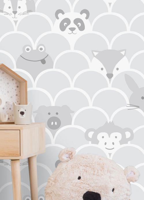 Papel de parede infantil Papel de parede Taro cinza claro Ver quarto