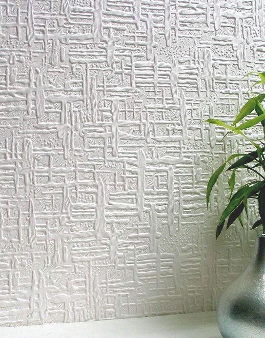 Papel de parede Anaglypta Papel de parede Edward branco Ver quarto