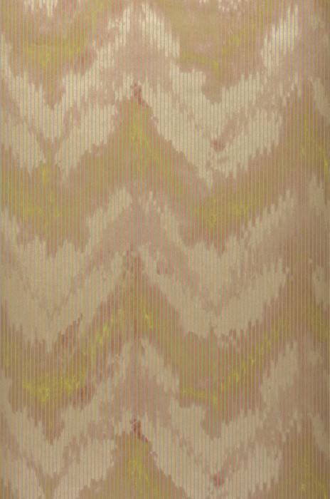 Wallpaper Tauran Matt Zigzag Beige brown Green yellow Pearl gold