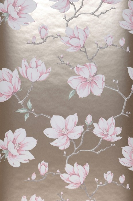 Wallpaper Magnolia Matt pattern Shimmering base surface Branches with leaves and blossoms Pearl beige Pale brown Pale green Cream Rose