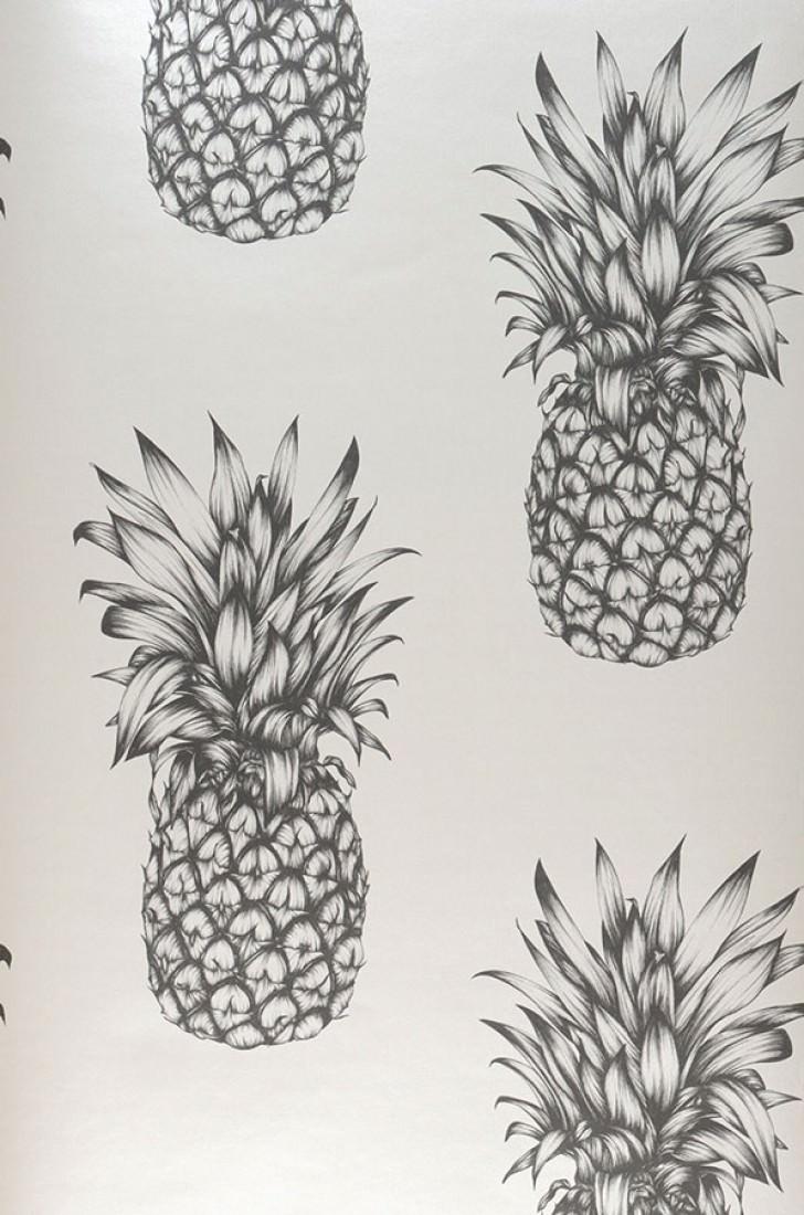 Wallpaper Pineapple Paradise Grey White Black Grey