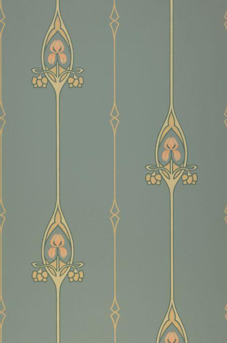 Papier peint art nouveau Papier peint Danne turquoise menthe Largeur de lé
