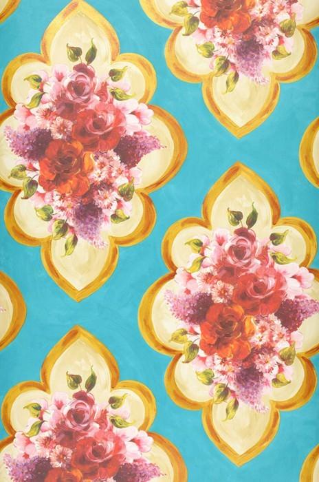Papier peint Malona Mat Bouquets de fleurs Damassé floral Bleu turquoise Jaune doré chatoyant Vert Ivoire clair Lavande Rouge