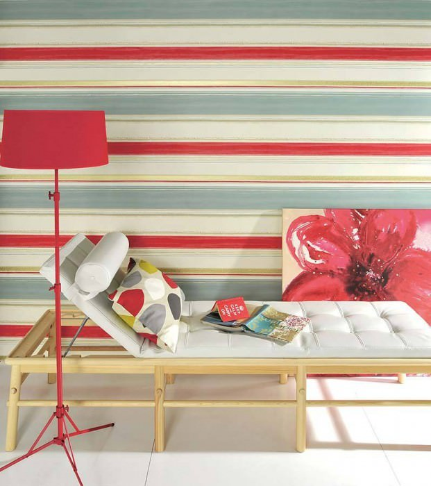 Wallpaper Fabiana Matt Stripes Cream Pale blue Gold Red