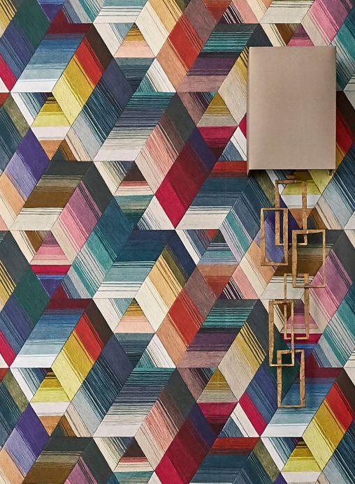 Papel de parede geométrico Papel de parede Nikita multicolorido Ver quarto
