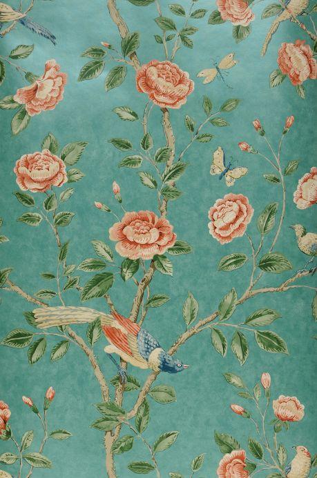Papel pintado floral Papel pintado Majorelle turquesa menta brillante Bahnbreite