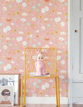 Wallpaper Bloom Hand printed look Matt Flowers Beige red Cream Light green Orange Lemon yellow