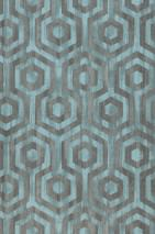 Wallpaper Marno Matt Looks like textile Hexagons Light turquoise blue Dark grey