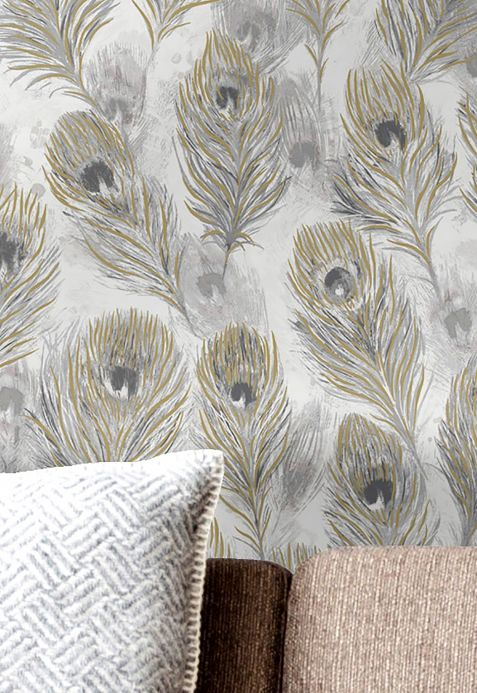 Papel pintado moderno Papel pintado Noelia tonos de gris Ver habitación