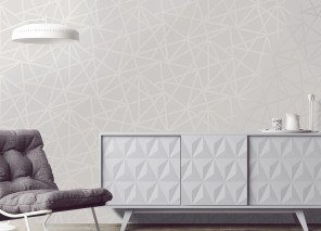 Wallpaper Habakuk Shimmering pattern Matt base surface Graphic elements Modern Art Grey white Silver