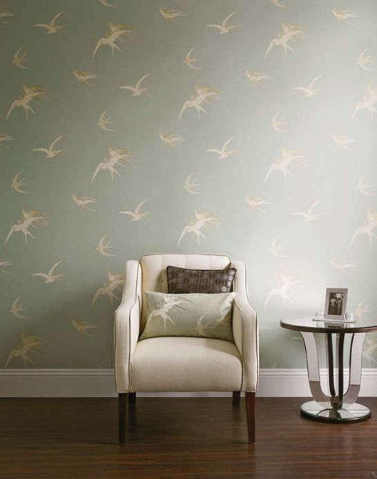 Country style Wallpaper Wallpaper Izanami light blue grey Room View