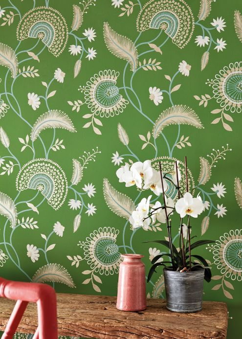 Floral Wallpaper Wallpaper Suzanne grass-green Room View
