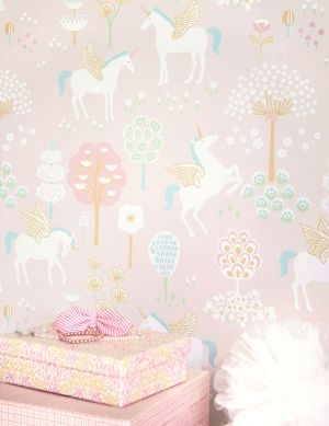 Wallpaper True Unicorns pale pink Room View
