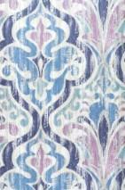 Papel de parede Artio Mate Damasco barroco Branco creme Violeta pálido Azul Violeta escuro Turquesa brilhante