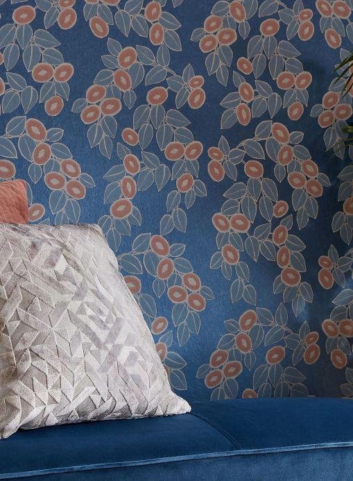 Papier peint botanique Papier peint Sahira bleu chatoyant Vue pièce