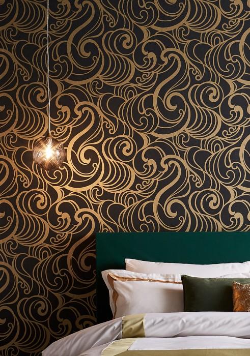 Papel pintado Madina Mate Elementos gráficos Patrones ondulados Antracita Oro mate