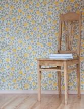 Papel de parede Valentina Efeito estampado à mão Mate Folhas Laranjas Branco creme Tons de verde Amarelo sol