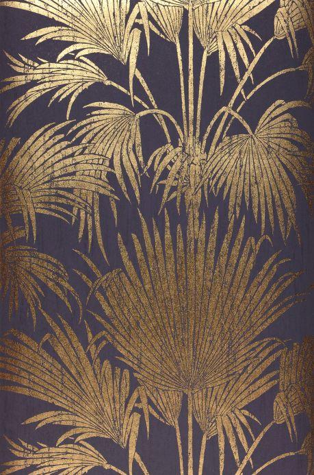 Carta da parati botanica Carta da parati Lorella oro brillante Larghezza rotolo