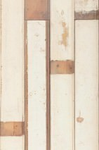 Wallpaper Scrapwood 01 Matt Shabby chic Imitation wood Cream Brown tones