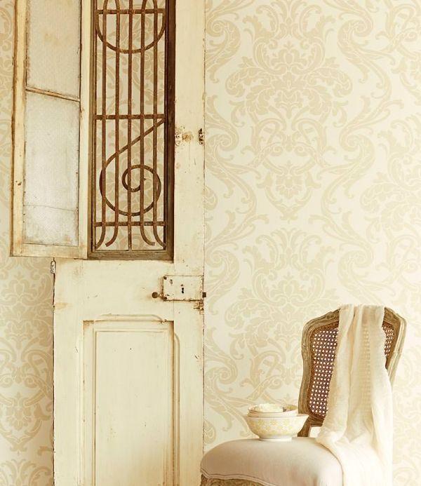 Papel de parede damasco Papel de parede Maradila dourado pálido Ver quarto