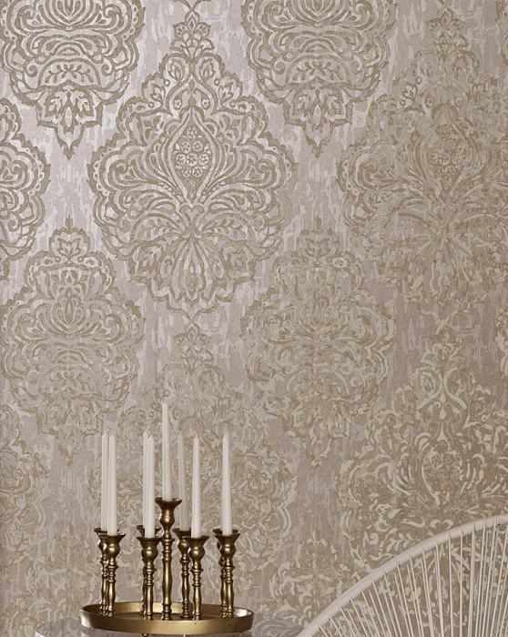 Wallpaper Olivia Hand printed look Matt pattern Shimmering base surface Baroque damask Light beige grey Cream Grey beige Light ivory
